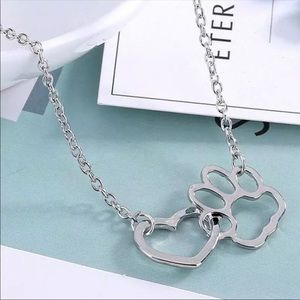 Jewelry - Animal Lovers Paw Print Silver Necklace